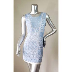 Monteau Light Blue Shift Patch Dress, S